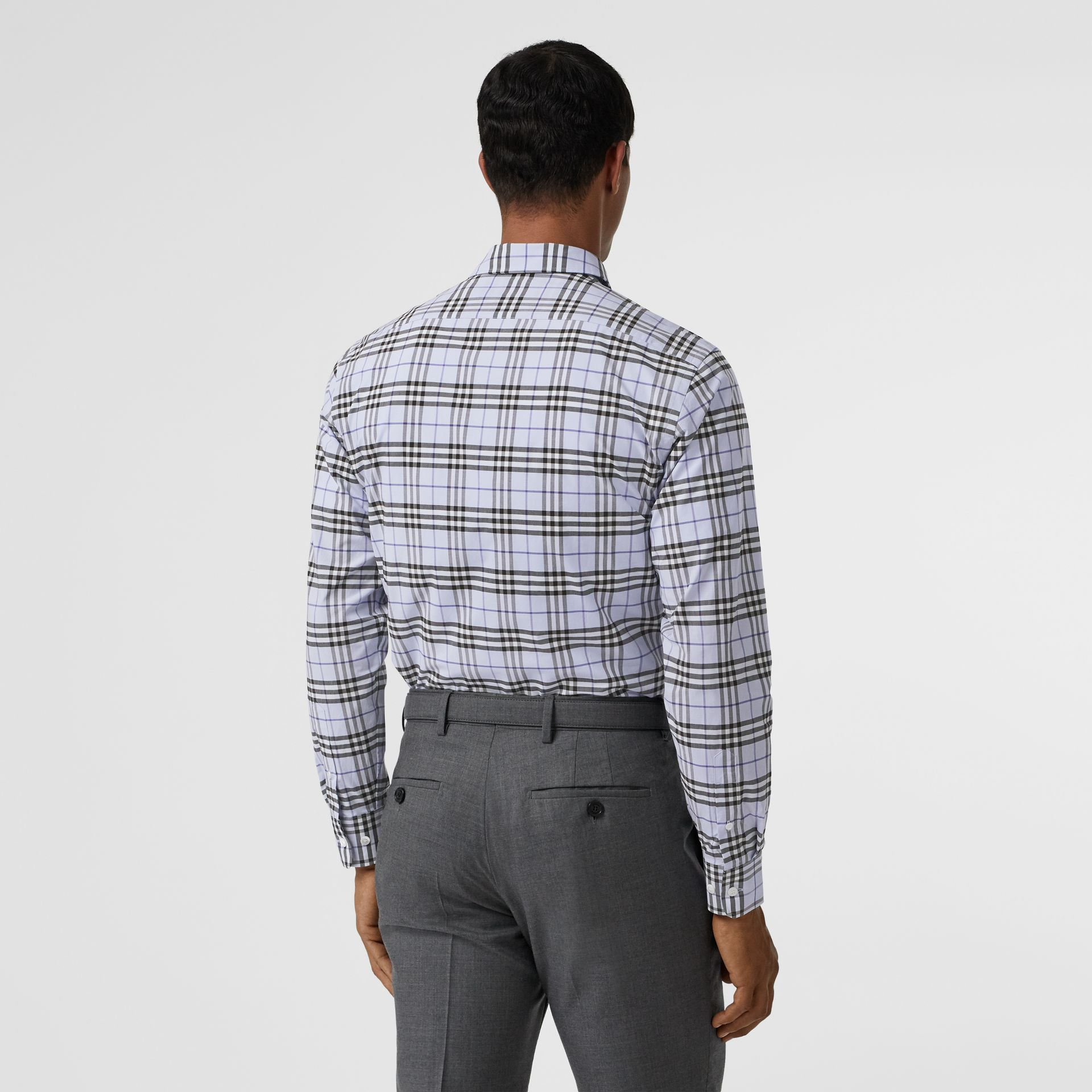 Check Stretch Cotton Shirt in Sky Blue - Men | Burberry - gallery image 2
