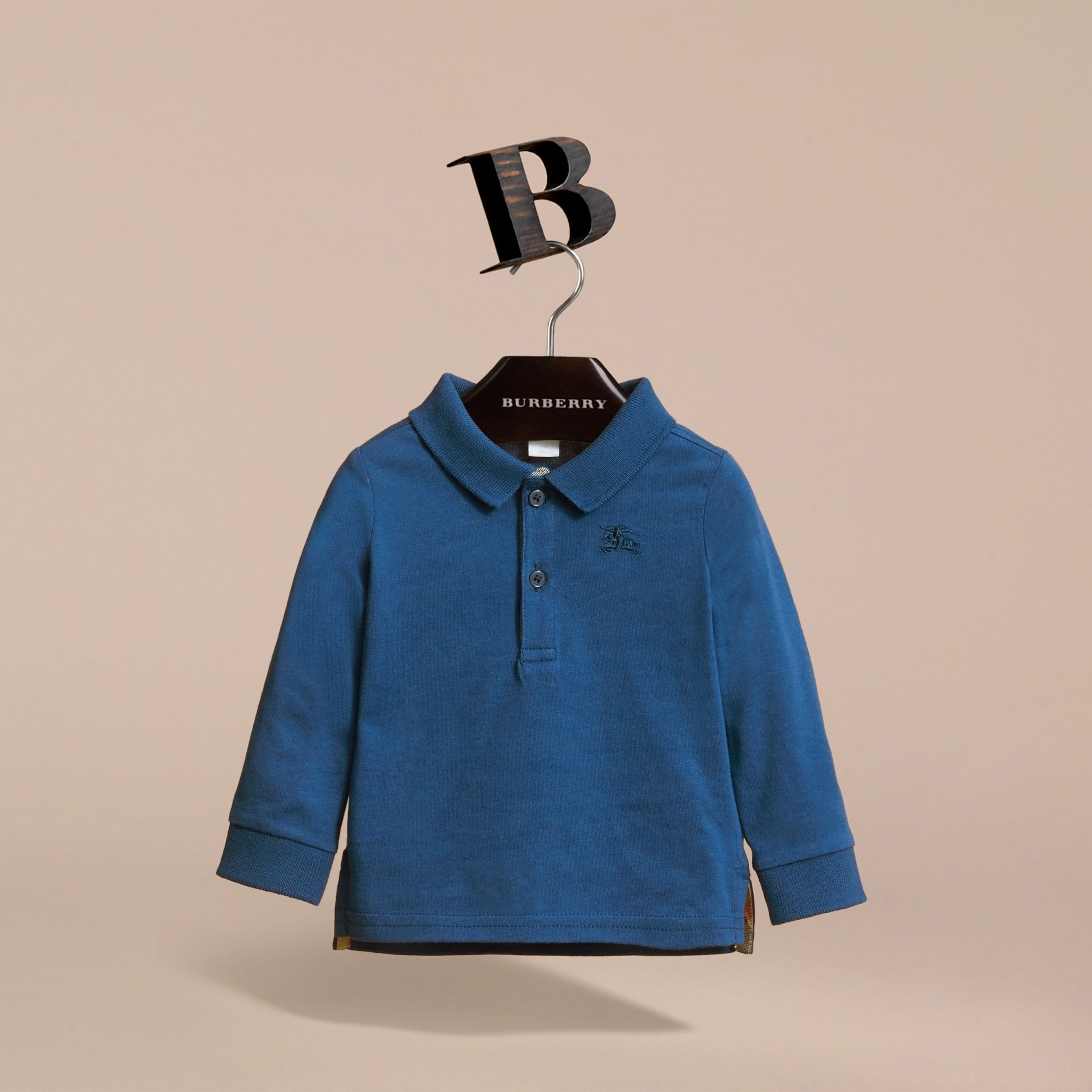 Long-sleeve Cotton Jersey Polo Shirt in Marine Blue | Burberry Australia - gallery image 3