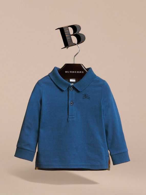 長袖平織棉 Polo 衫 (海藍) | Burberry - cell image 2