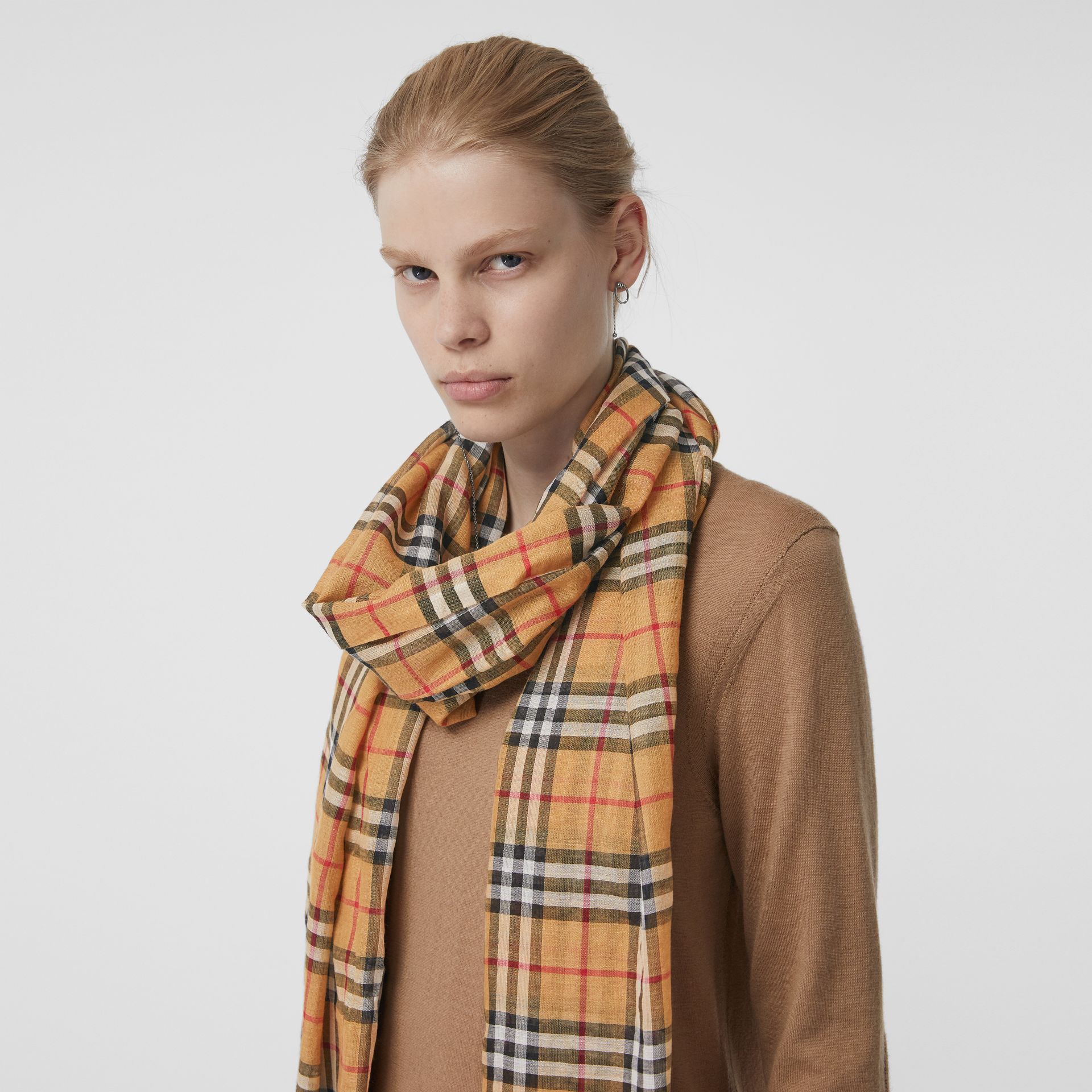 Vintage Check Lightweight Wool Silk Scarf in Antique Yellow | Burberry Singapore - gallery image 4