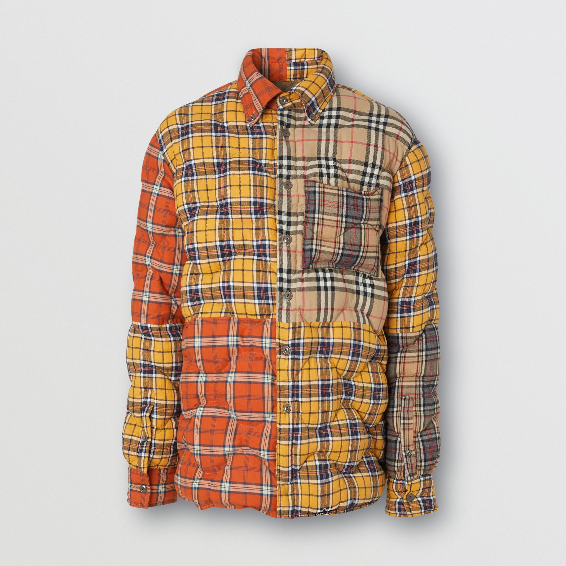 Contrast Check Cotton Flannel Puffer Overshirt in Yellow/white - Men | Burberry - gallery image 3