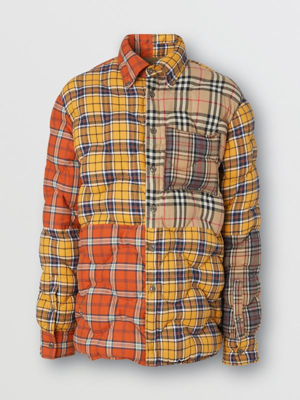 Contrast Check Cotton Flannel Puffer Overshirt in Yellow/white - Men | Burberry - cell image 3
