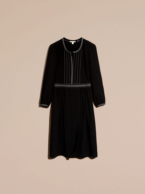 Black Topstitch Detail Wool Crepe Dress - cell image 3