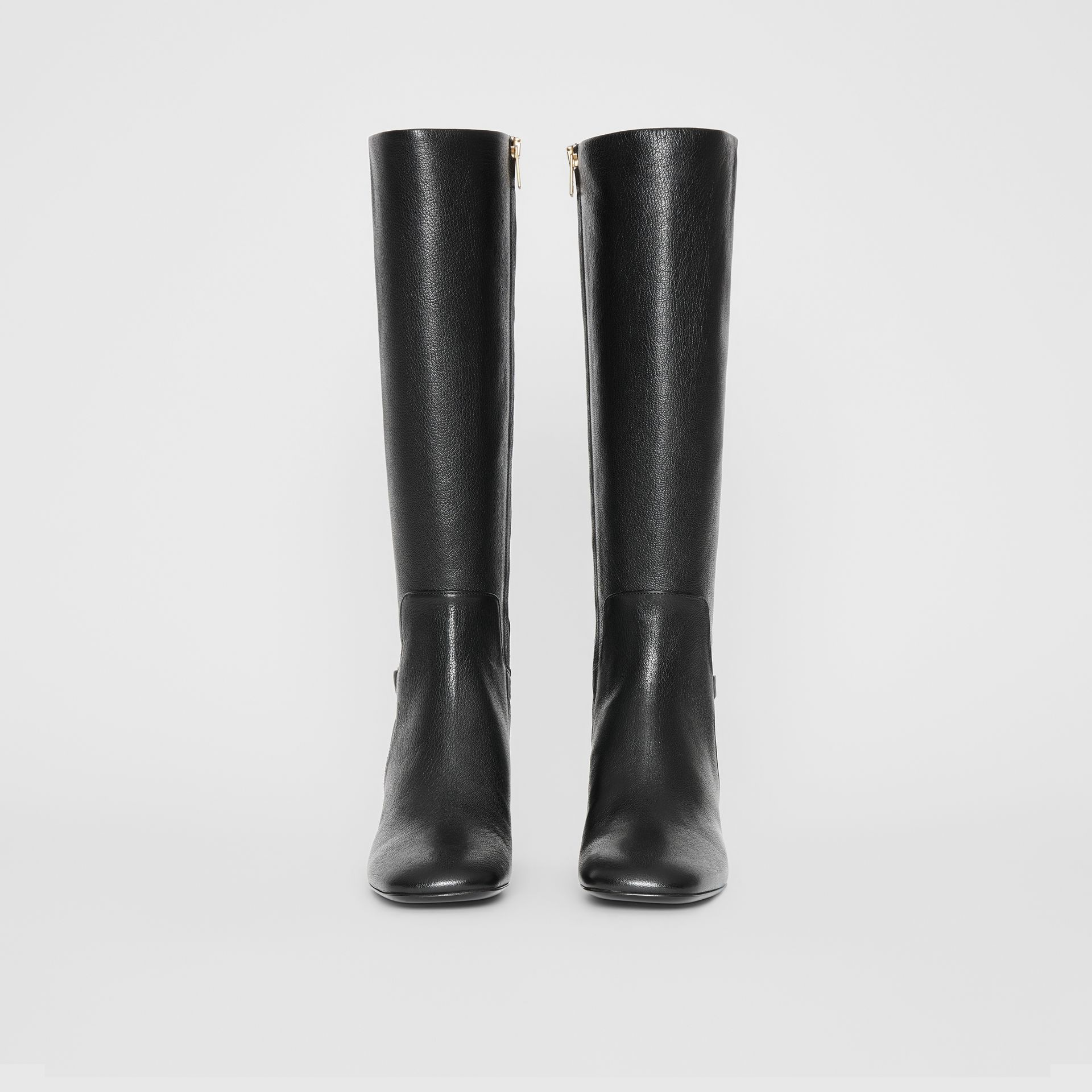 Link Detail Leather Knee-high Boots in Black - Women | Burberry - gallery image 3