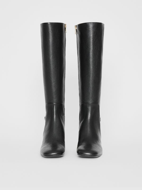 Link Detail Leather Knee-high Boots in Black - Women | Burberry - cell image 3