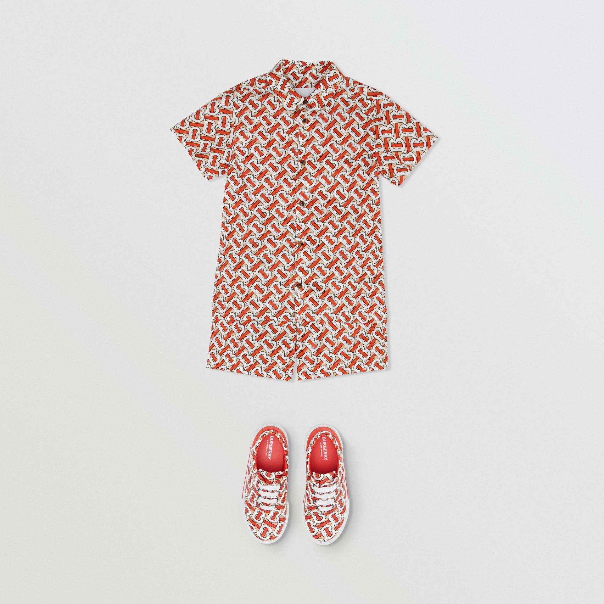Short-sleeve Monogram Print Cotton Poplin Shirt in Vermilion Red | Burberry - gallery image 2