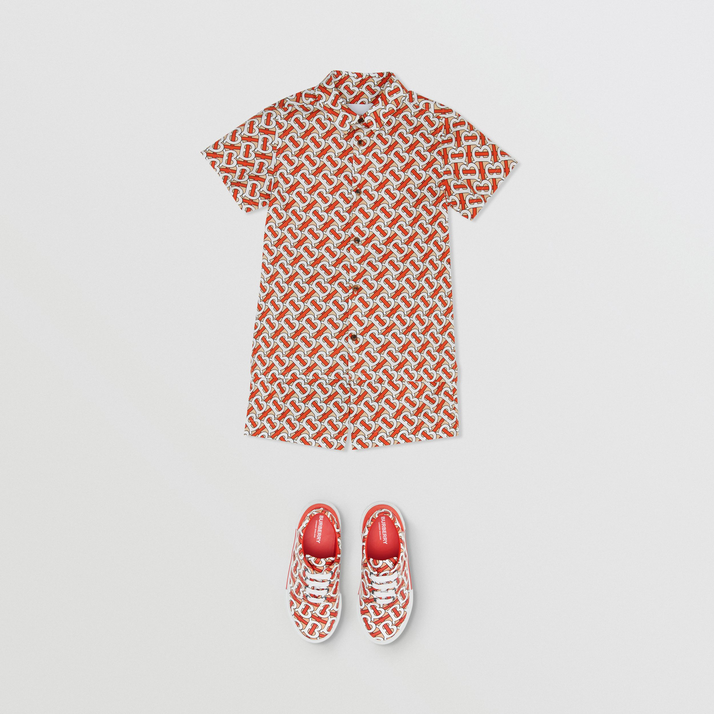 Short-sleeve Monogram Print Cotton Poplin Shirt in Vermilion Red | Burberry - 3