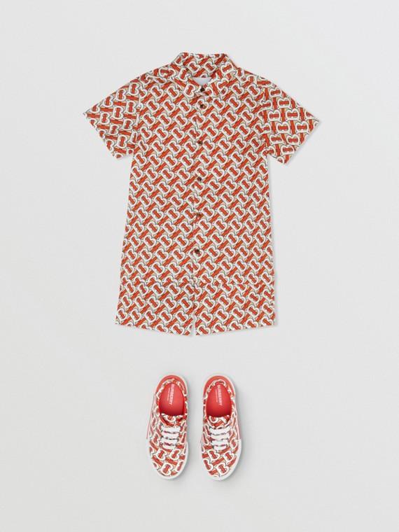 Short-sleeve Monogram Print Cotton Poplin Shirt in Vermilion Red