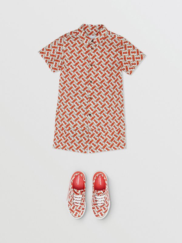 Short-sleeve Monogram Print Cotton Poplin Shirt in Vermilion Red | Burberry - cell image 2