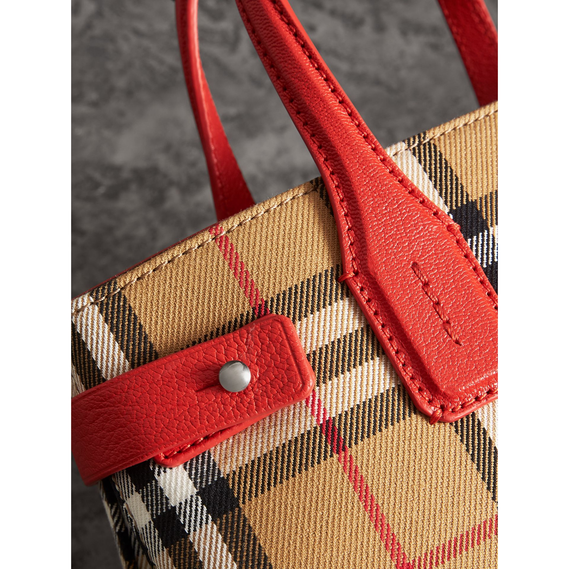 The Small Banner in Vintage Check and Leather in Bright Red - Women | Burberry United Kingdom - gallery image 1