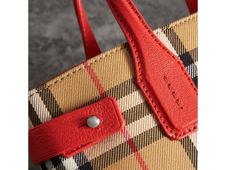 The Small Banner in Vintage Check and Leather in Bright Red - Women | Burberry - cell image 1