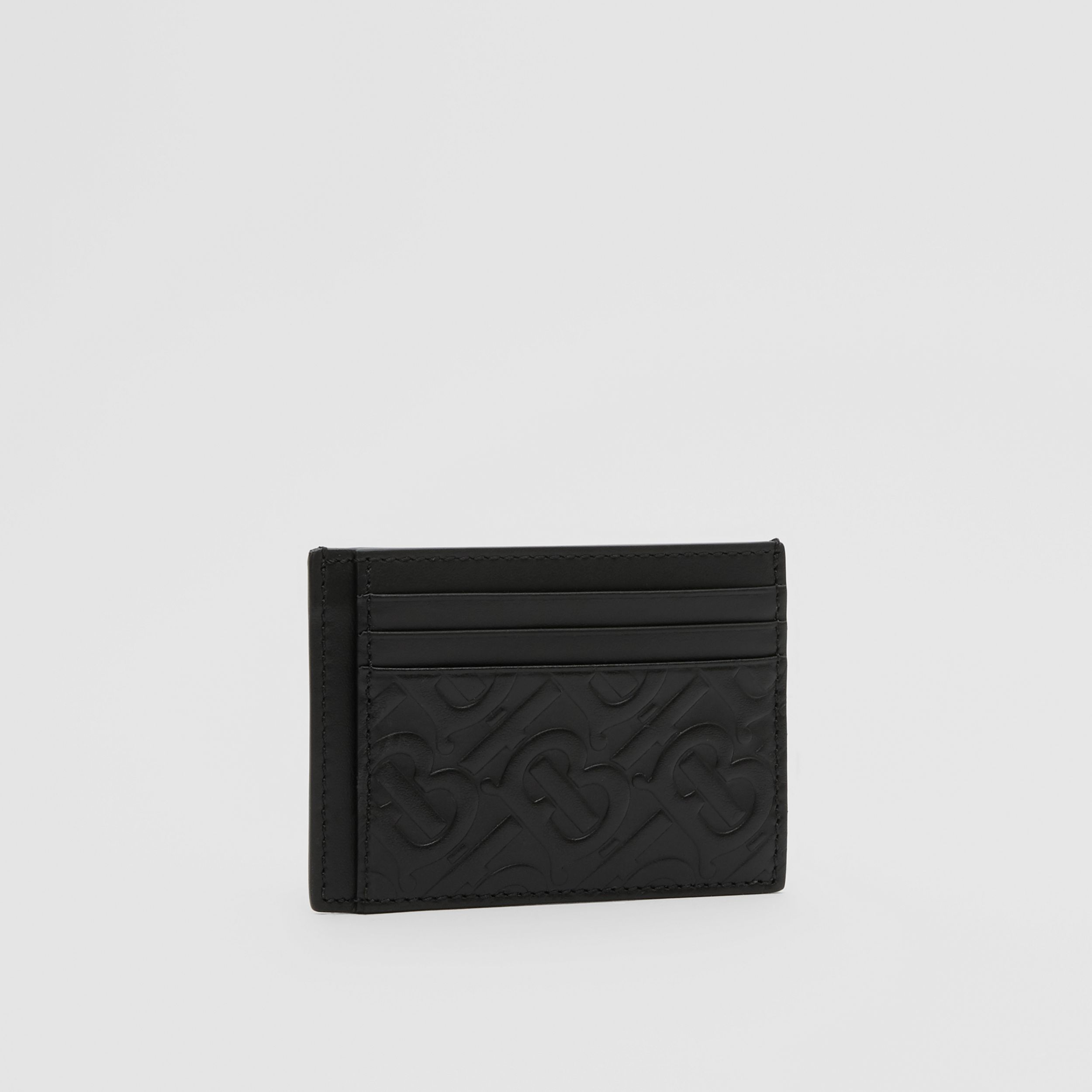 Monogram Leather Card Case in Black - Men | Burberry - 4