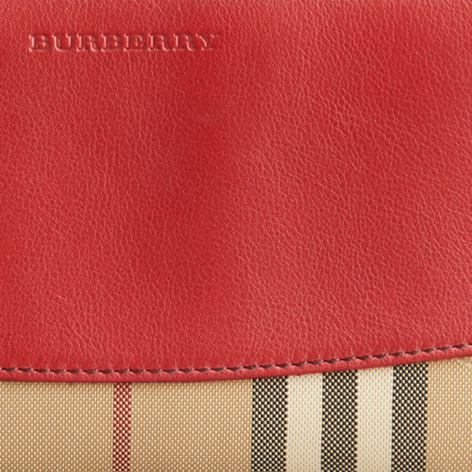 Horseferry Check and Leather Ziparound Wallet in Parade Red - Women | Burberry United Kingdom - gallery image 2