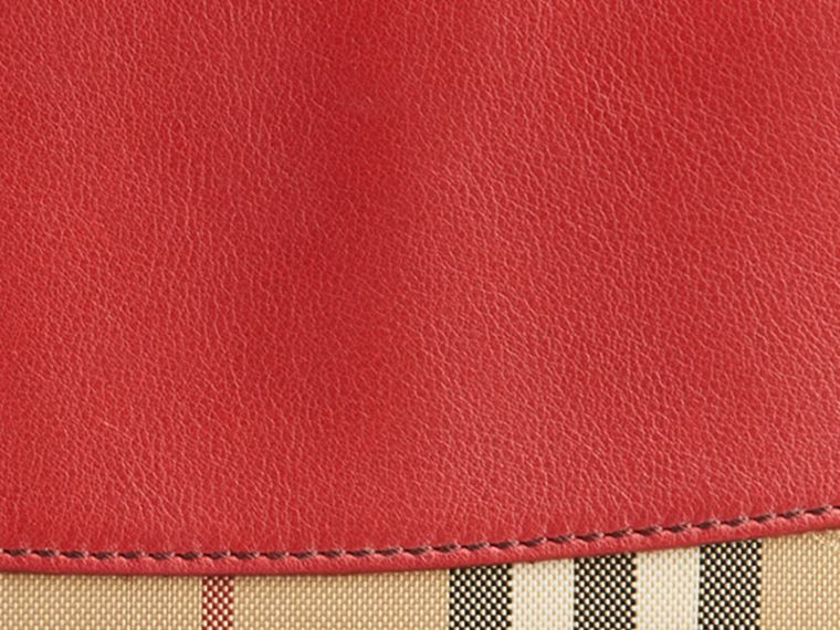 Horseferry Check and Leather Ziparound Wallet in Parade Red - Women | Burberry United Kingdom - cell image 1