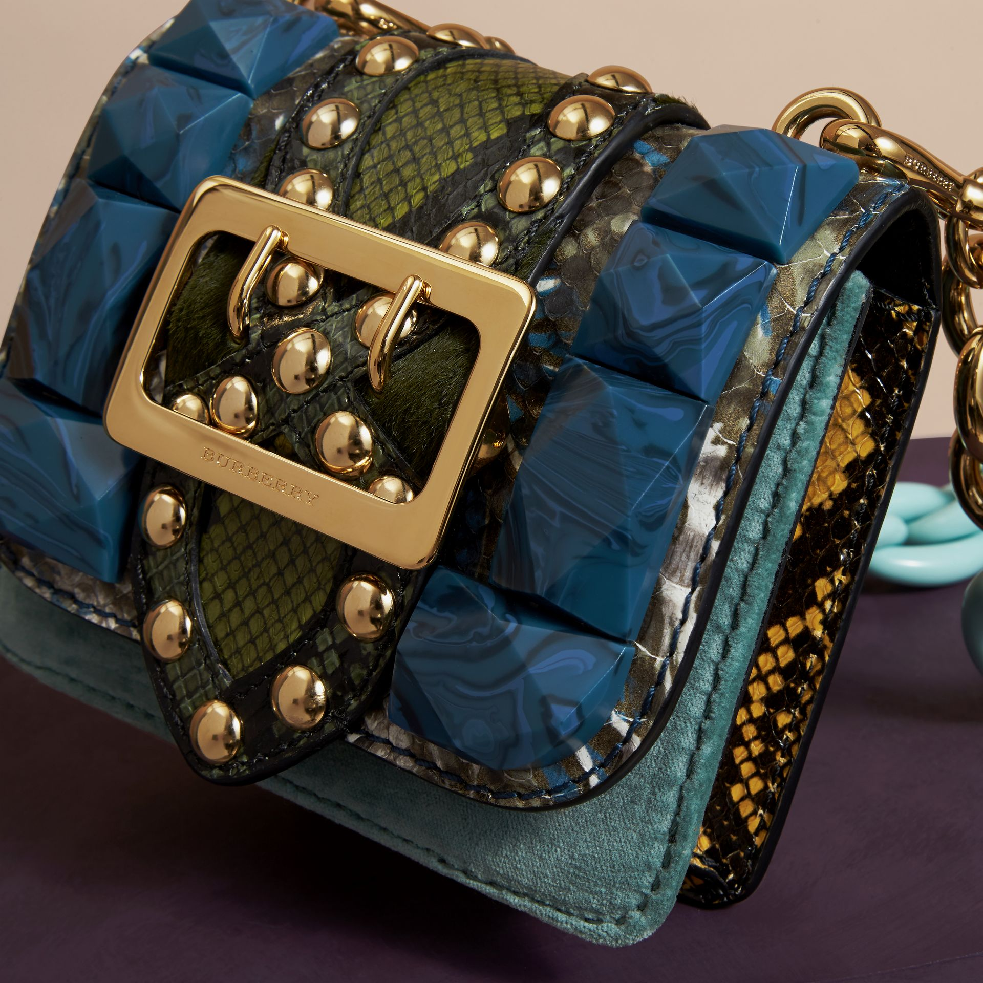 Pale opal The Mini Square Buckle Bag in Velvet and Snakeskin - gallery image 6