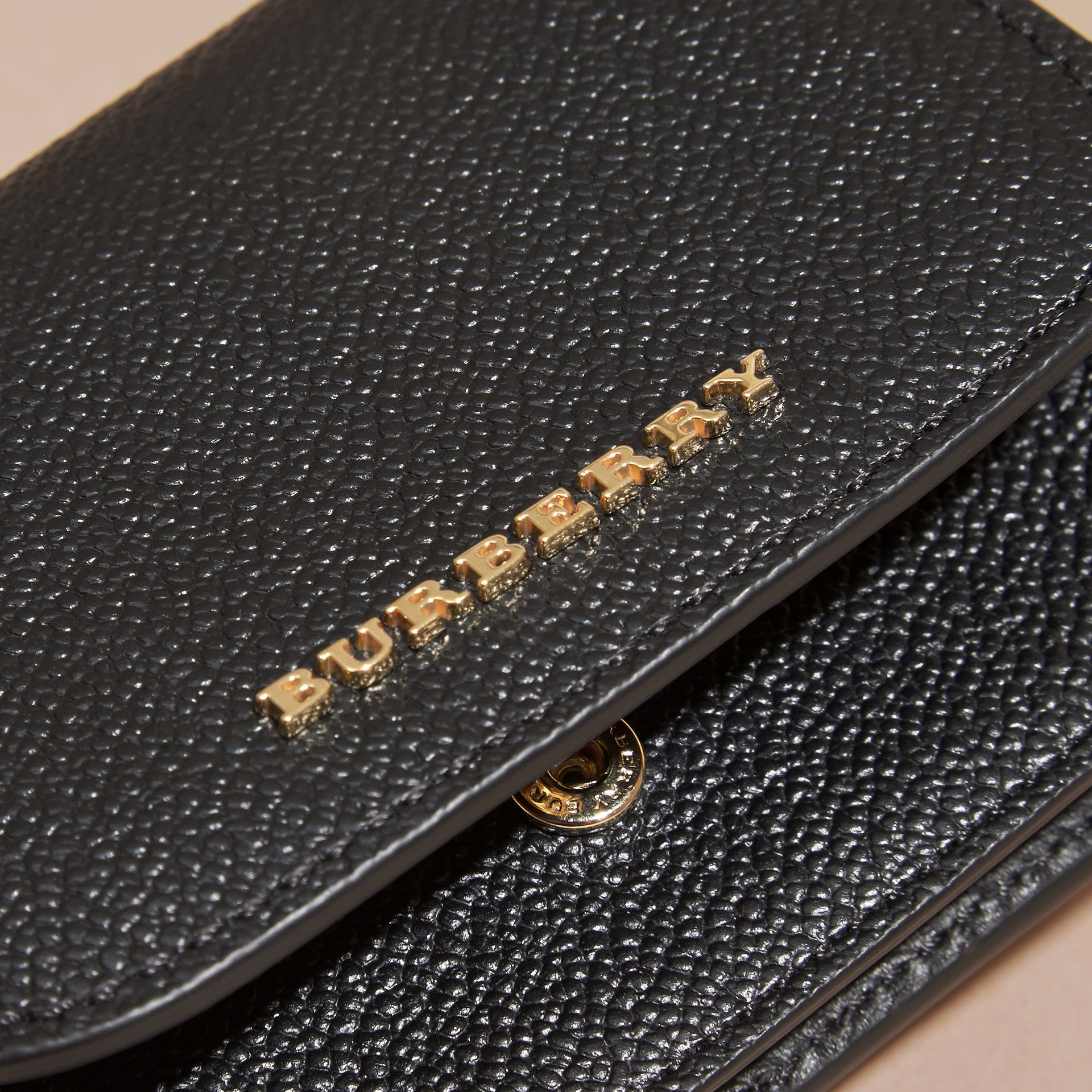 Grainy Leather Card Case Black - gallery image 2