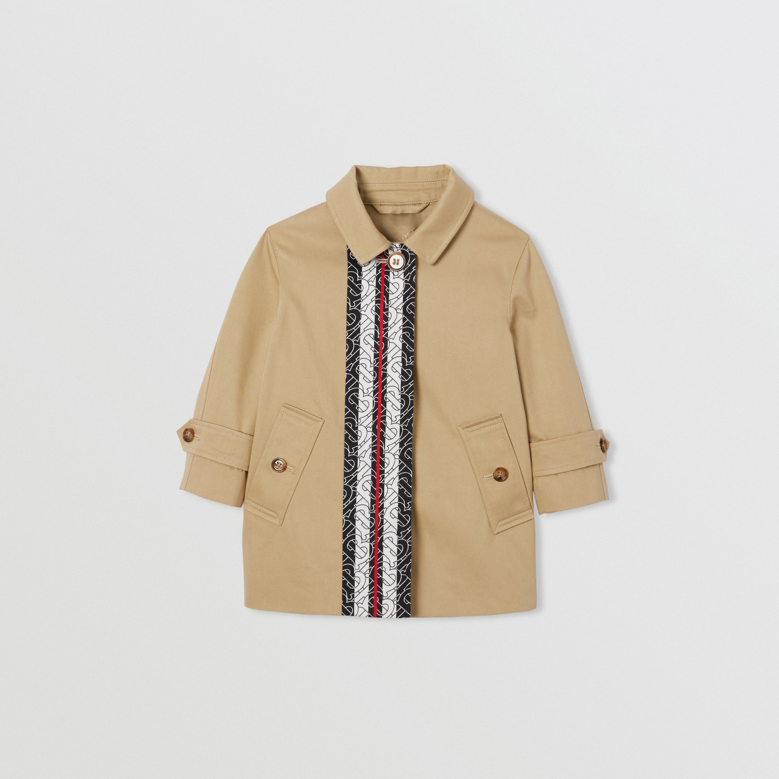 Monogram Stripe Print Cotton Car Coat in Honey - Children | Burberry - 1