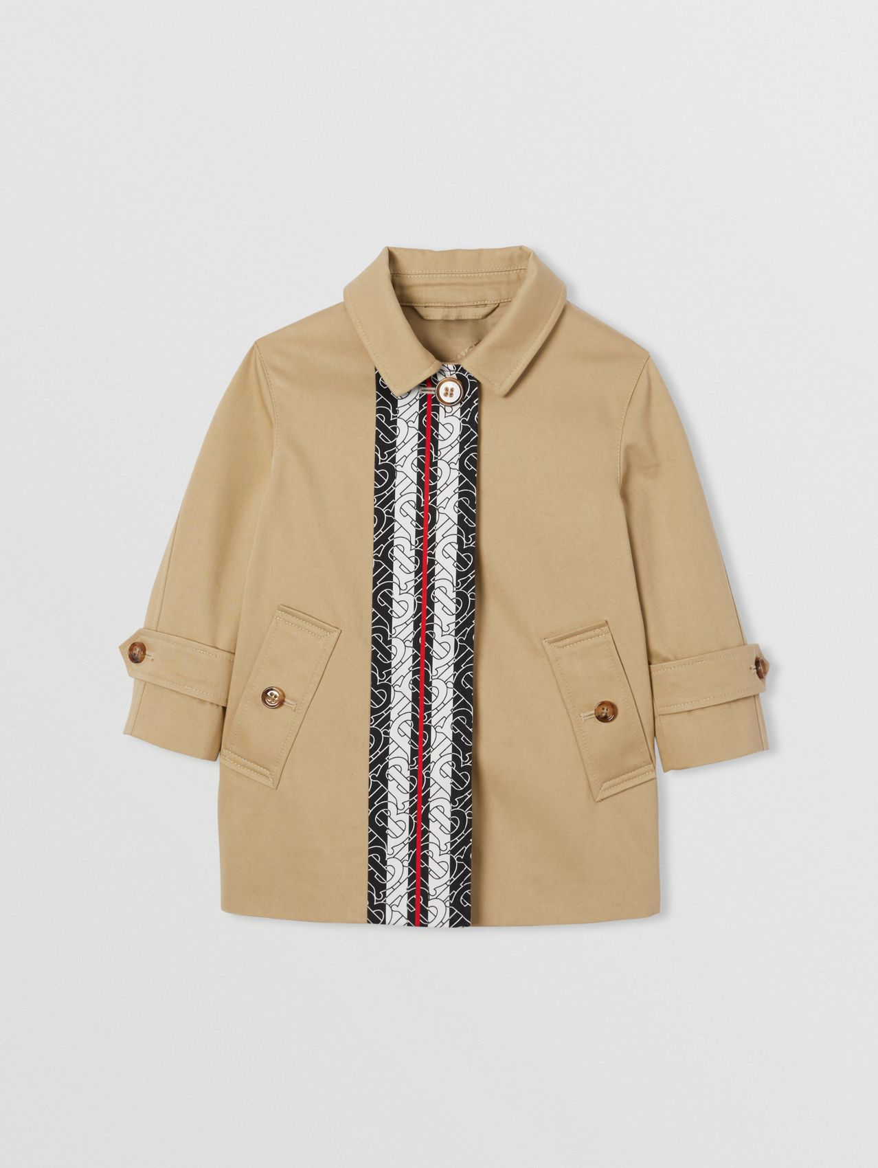 Monogram Stripe Print Cotton Car Coat in Honey