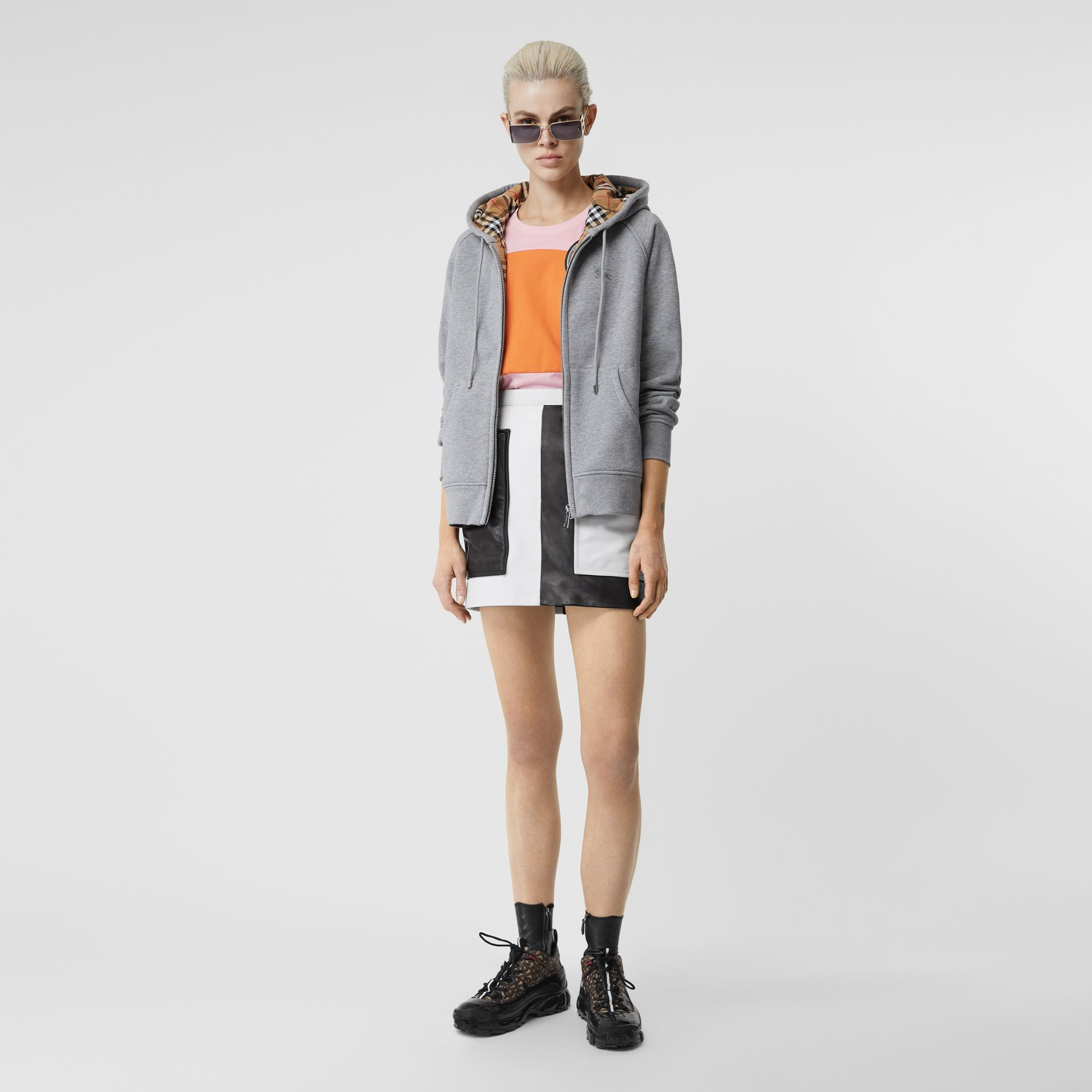 Vintage Check Detail Jersey Hooded Top in Pale Grey Melange - Women | Burberry - gallery image 0