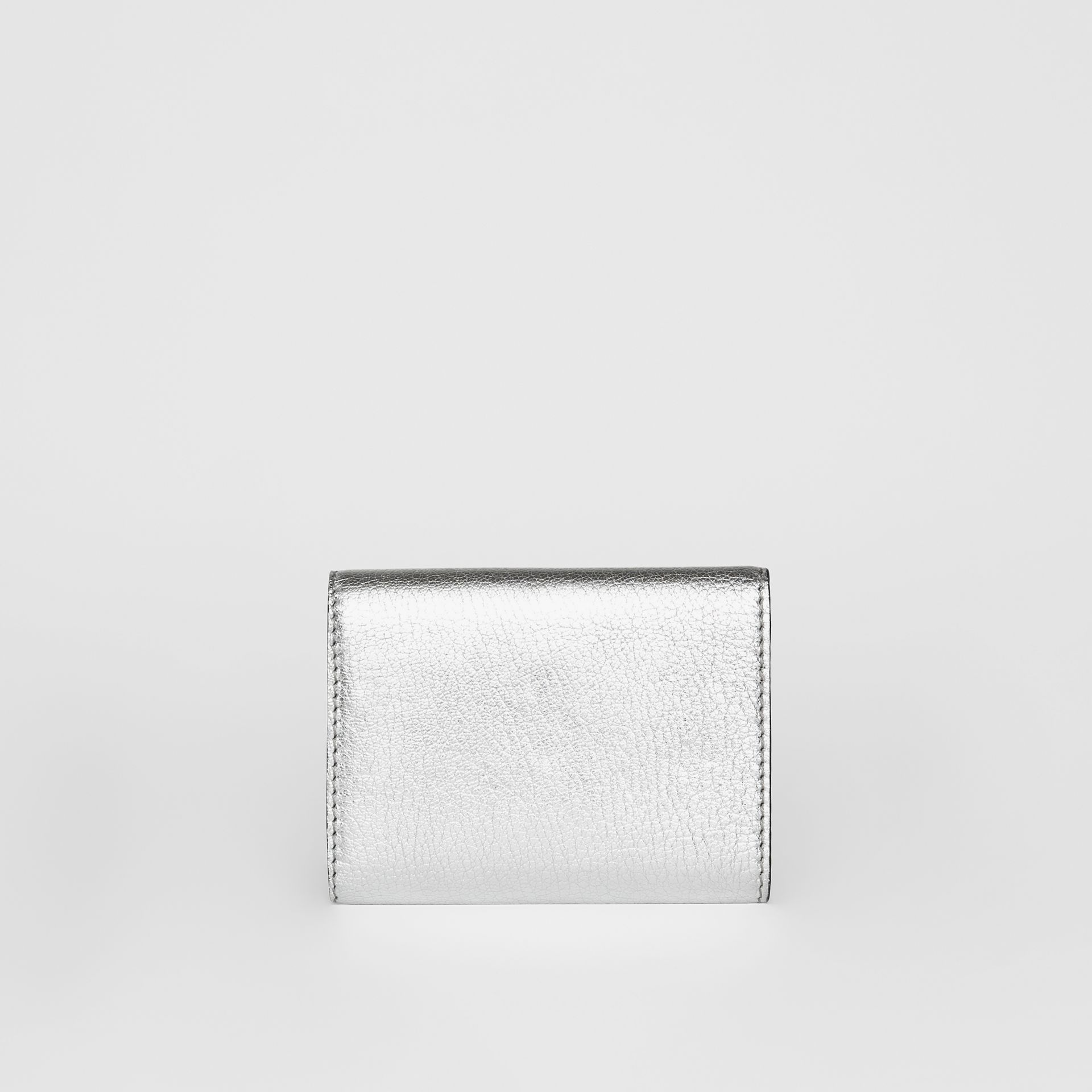 Small D-ring Metallic Leather Wallet in Silver - Women | Burberry United Kingdom - gallery image 4