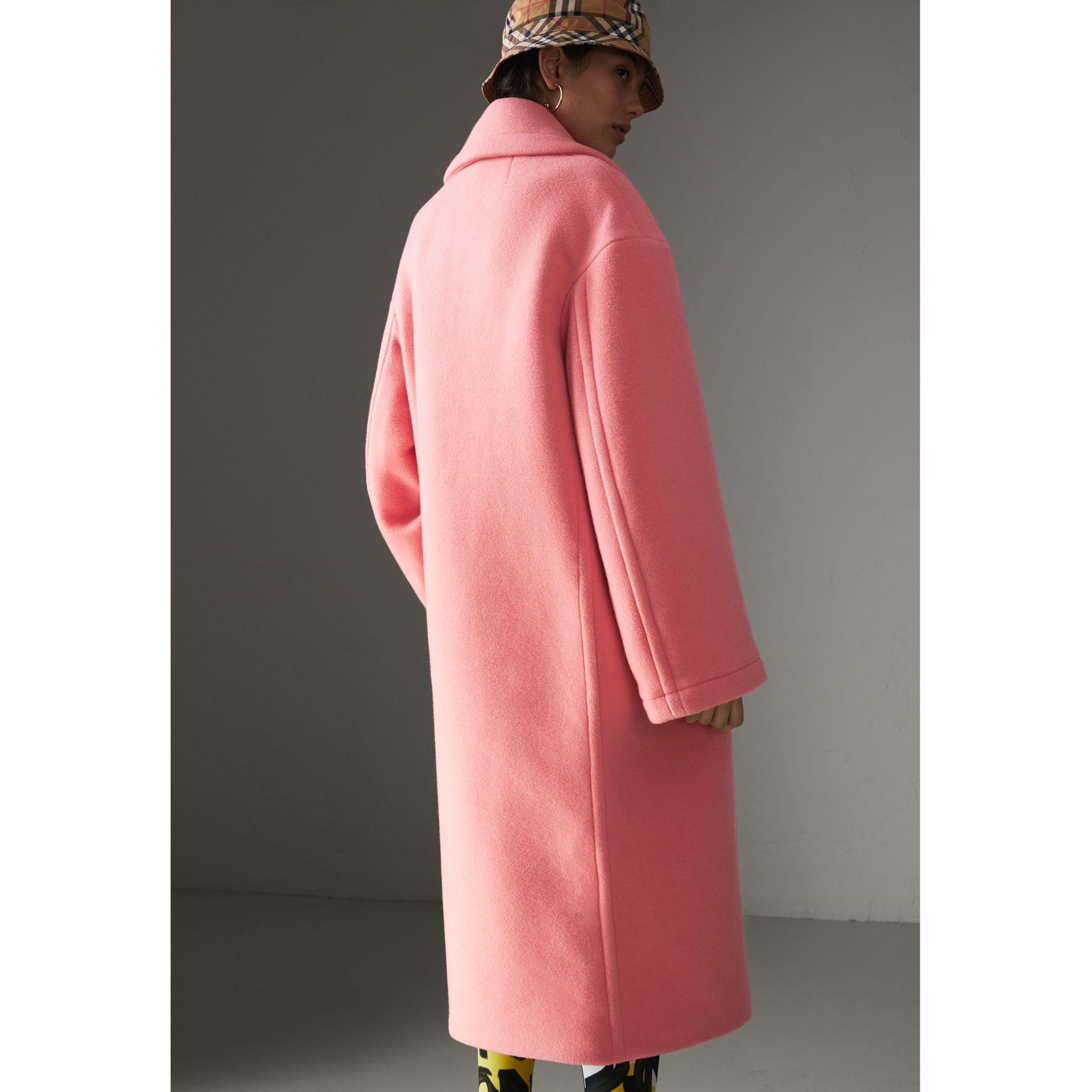 Double-faced Wool Cashmere Cocoon Coat in Bright Coral Pink - Women | Burberry - gallery image 2