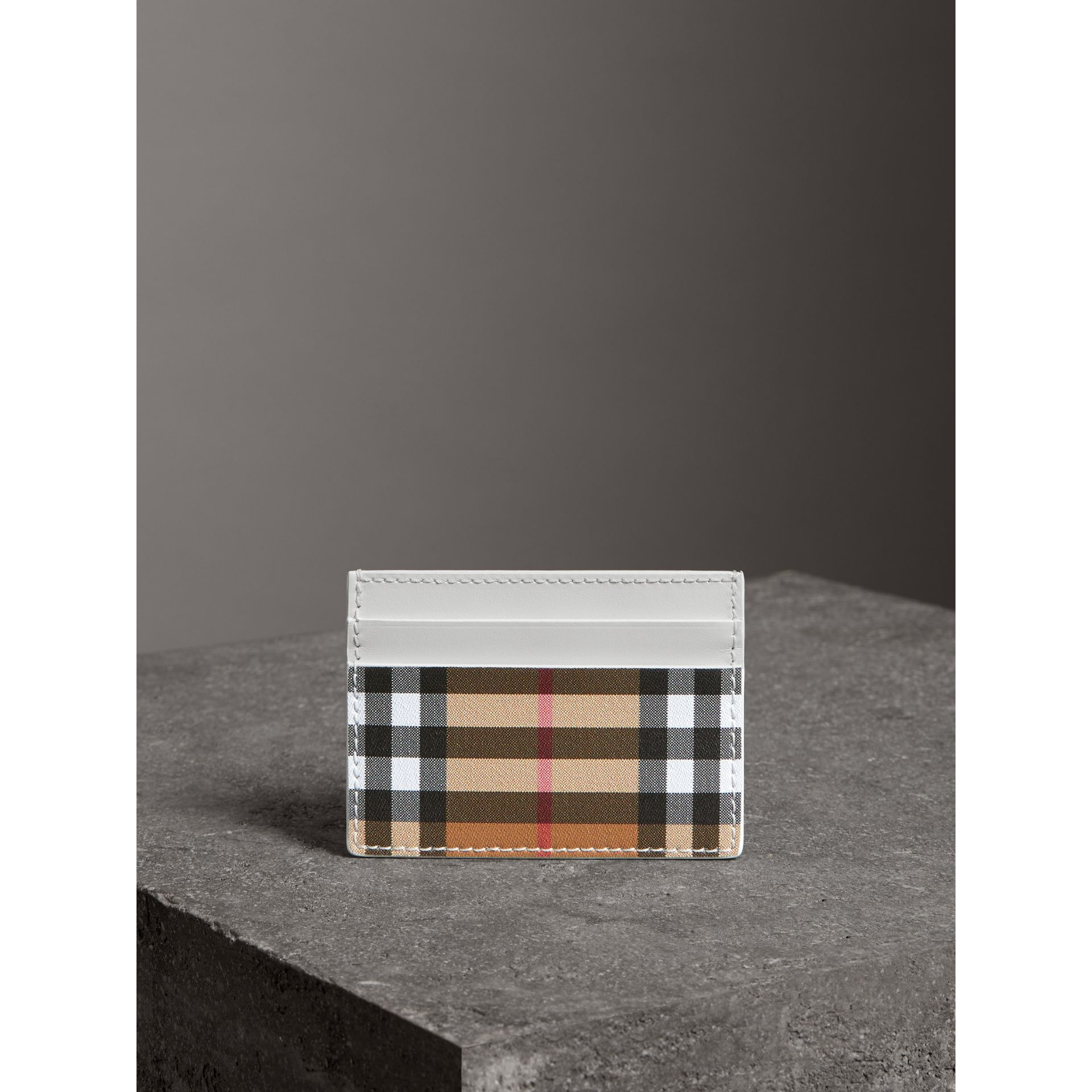 Vintage Check and Leather Card Case in Chalk White - Women | Burberry - gallery image 3