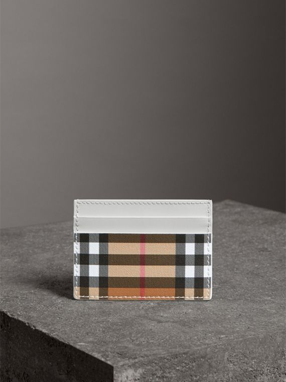 Vintage Check and Leather Card Case in Chalk White - Women | Burberry - cell image 3