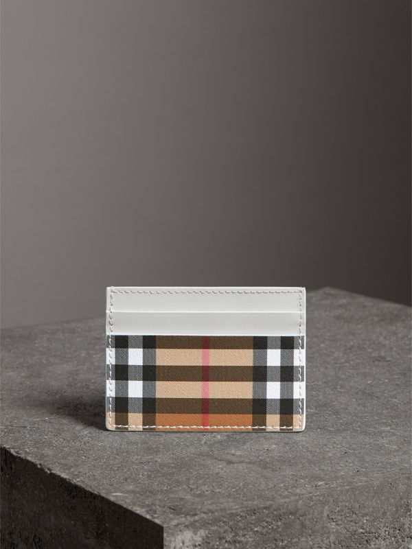 Vintage Check and Leather Card Case in Chalk White | Burberry - cell image 3