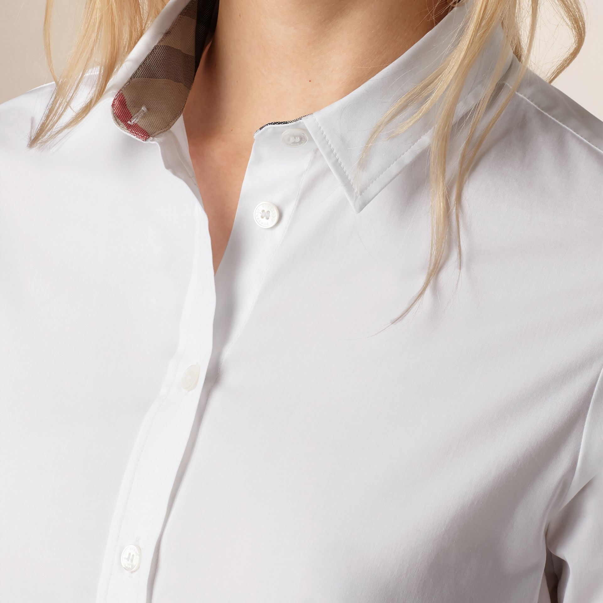 Check Cuff Stretch Cotton Shirt in White - Women | Burberry - gallery image 2