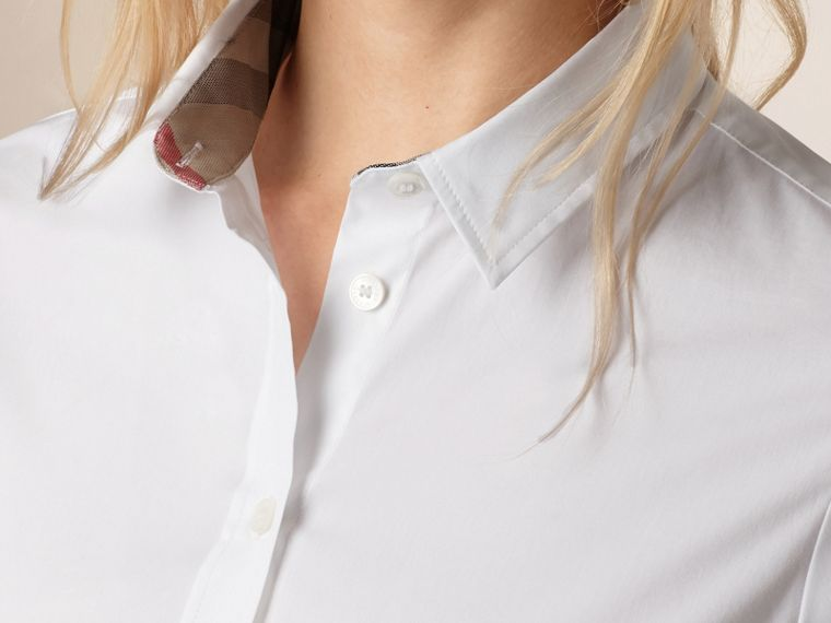 Check Cuff Stretch Cotton Shirt in White - Women | Burberry United States - cell image 2