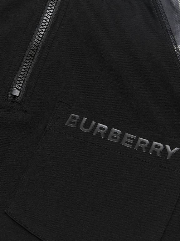 Vintage Check Detail Cotton Zip-front Polo Shirt in Black - Boy | Burberry - cell image 1