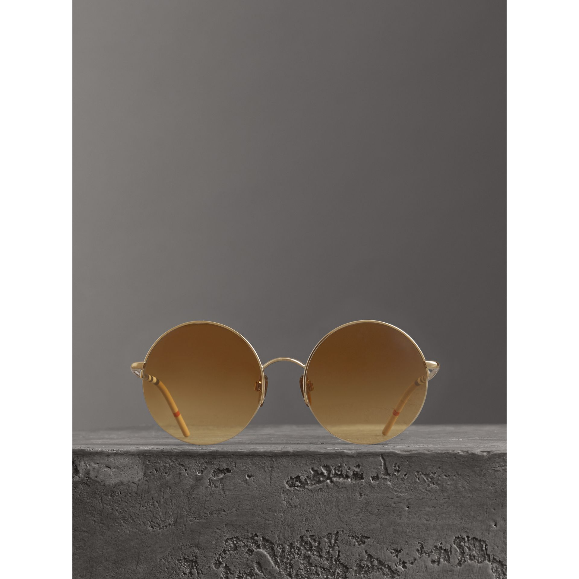 Check Detail Round Frame Sunglasses in Gold - Women | Burberry Singapore - gallery image 3