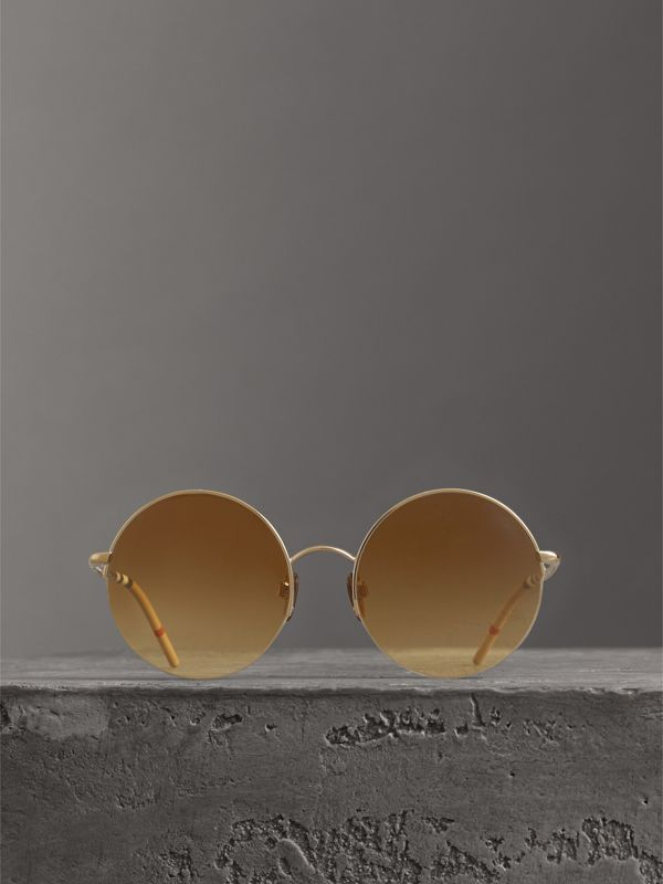 Check Detail Round Frame Sunglasses in Gold - Women | Burberry - cell image 3