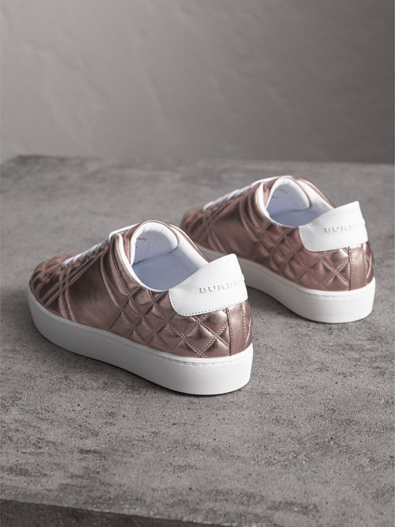 Metallic Check-quilted Leather Sneakers in Nude - Women | Burberry - cell image 3