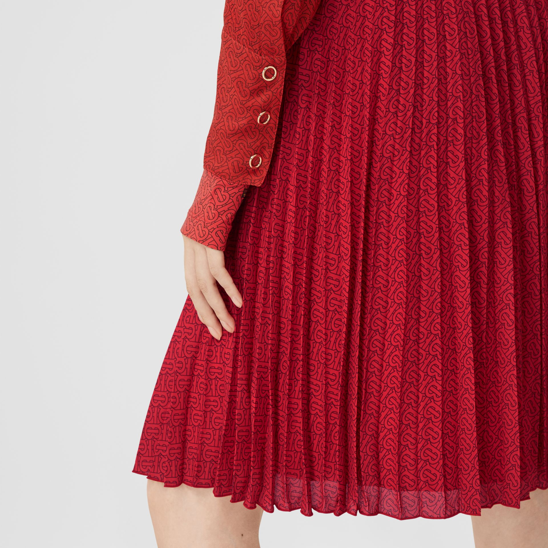 Monogram Print Pleated Skirt in Bright Red - Women | Burberry - gallery image 6