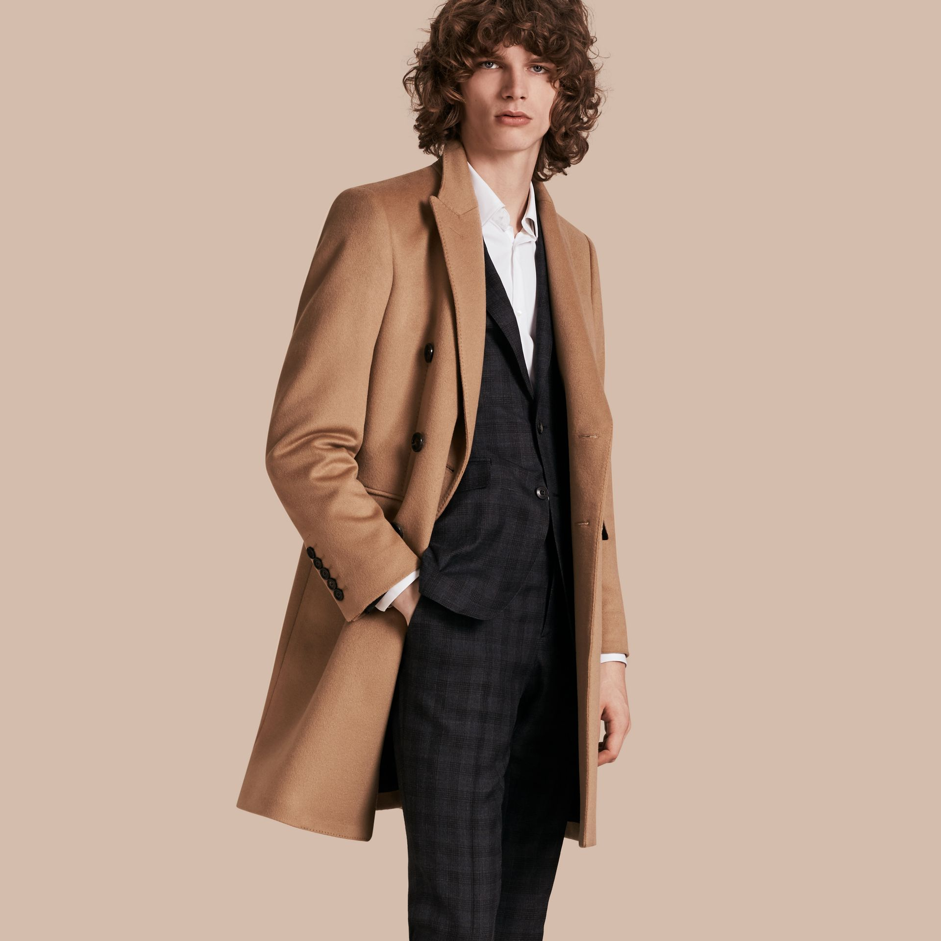 Camel Double-breasted Tailored Wool Cashmere Coat - gallery image 1