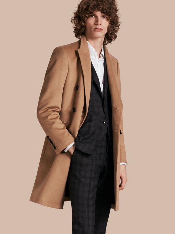 Double-breasted Tailored Wool Cashmere Coat