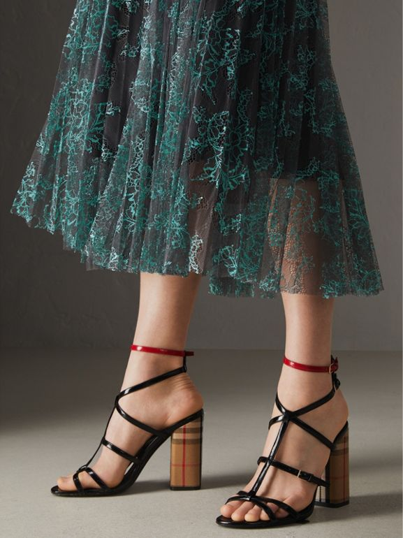Pleated Lace Skirt in Bright Blue/taupe - Women | Burberry United Kingdom - cell image 1