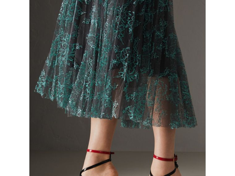 Pleated Lace Skirt in Bright Blue/taupe - Women | Burberry - cell image 1