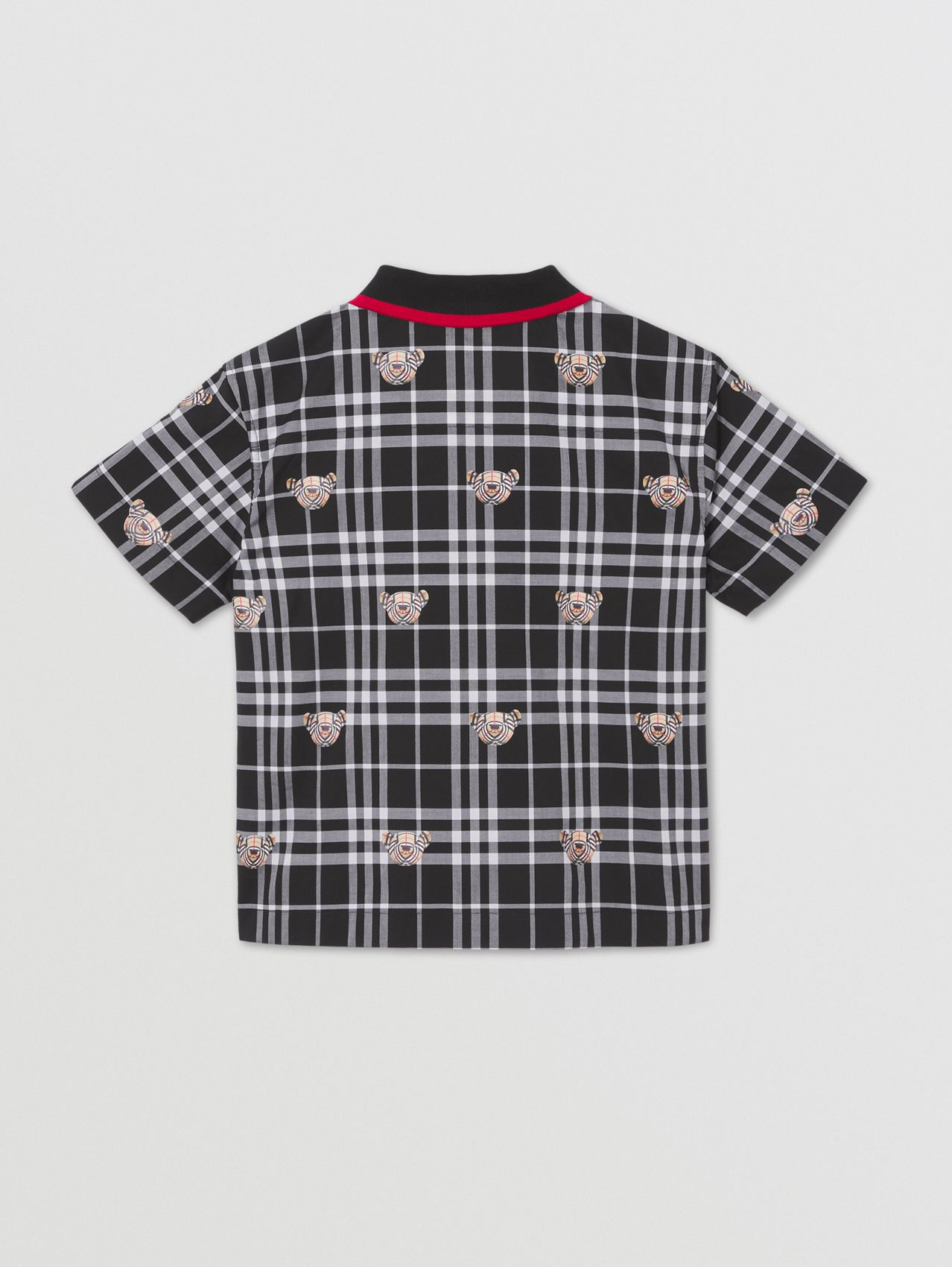 Thomas Bear Print Check Cotton Oversized Shirt in Black/white