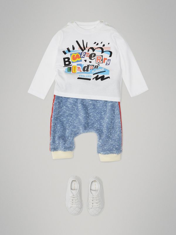 Long-sleeve Logo Print Cotton T-shirt in White - Children | Burberry - cell image 2