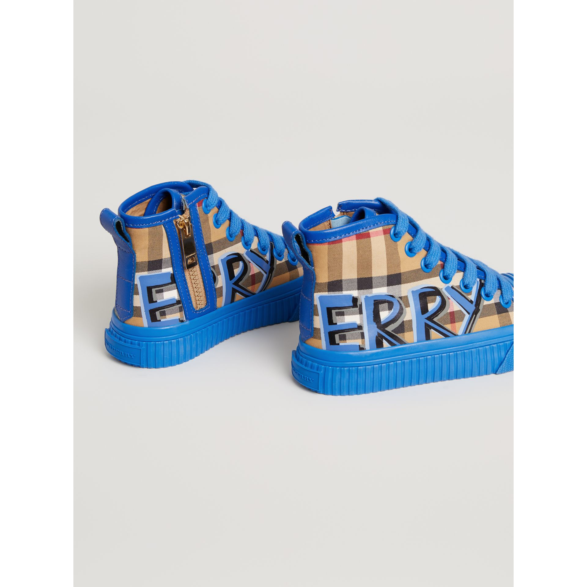 Graffiti Vintage Check High-top Sneakers in Bright Sky Blue - Children | Burberry - gallery image 2