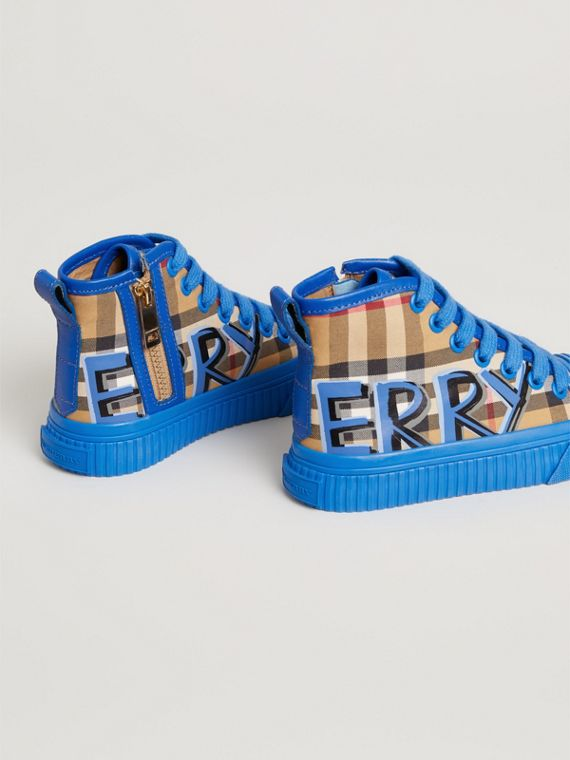 Graffiti Vintage Check High-top Sneakers in Bright Sky Blue | Burberry - cell image 2