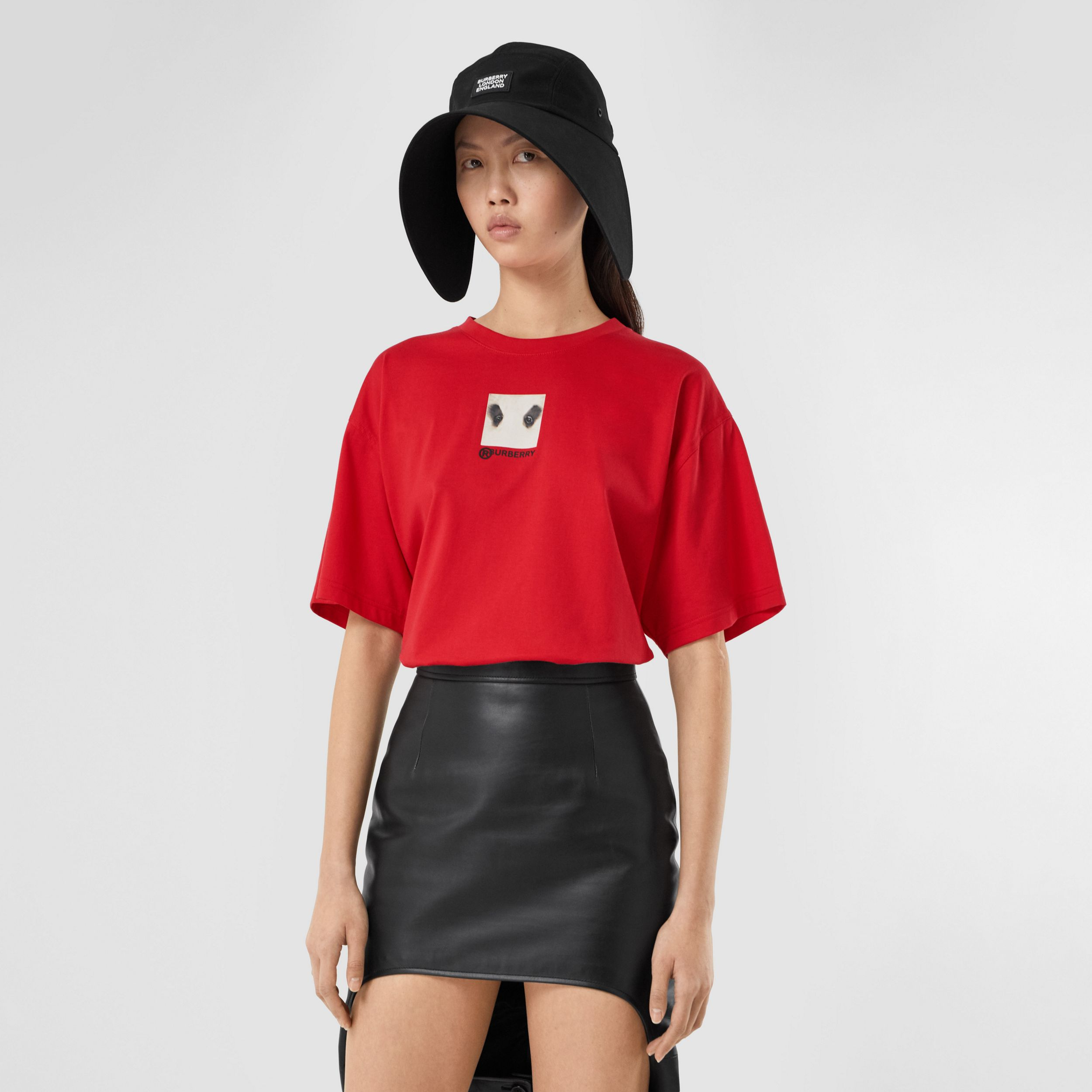 Montage Print Cotton Oversized T-shirt in Bright Red - Women | Burberry - 1