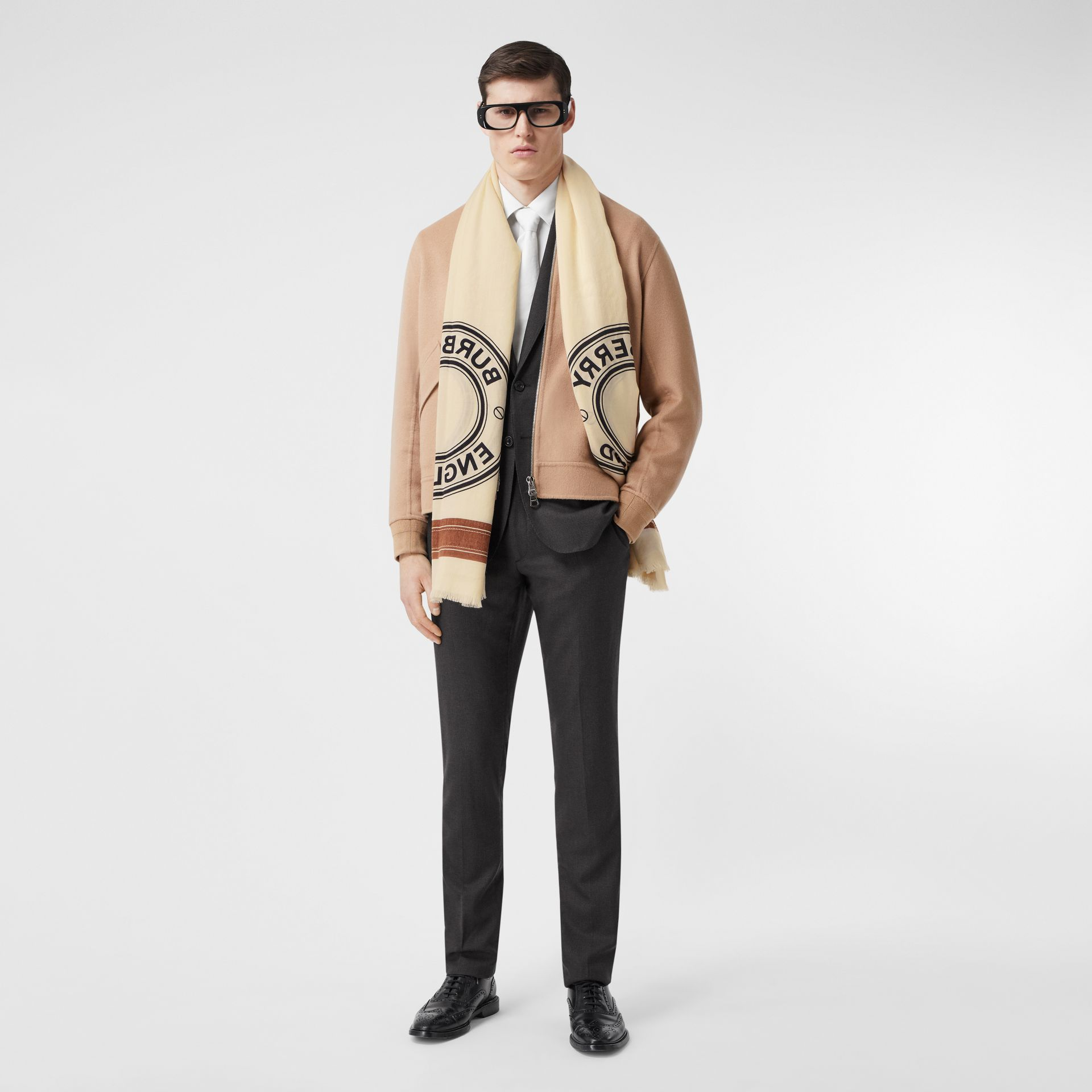 Logo Graphic Lightweight Cashmere Scarf in Natural White | Burberry Canada - gallery image 7
