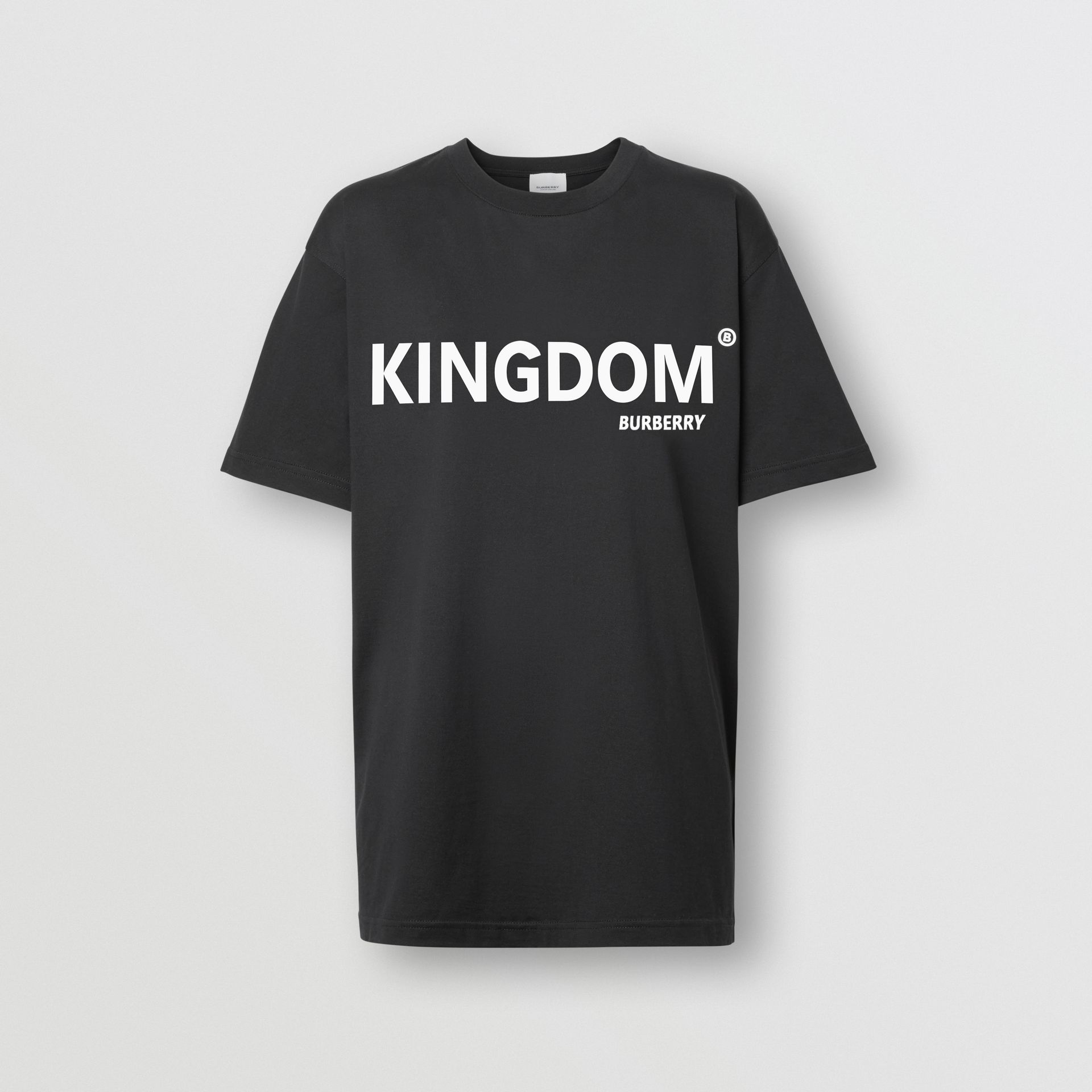 Kingdom Print Cotton Oversized T-shirt in Black - Women | Burberry - gallery image 3