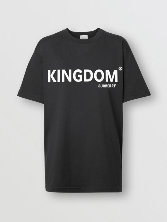 Kingdom Print Cotton Oversized T-shirt in Black