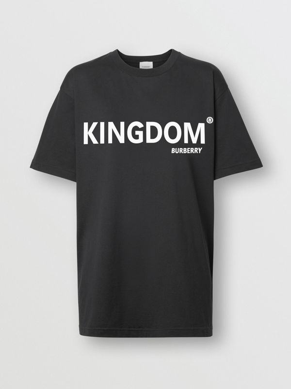 Kingdom Print Cotton Oversized T-shirt in Black - Women | Burberry United States - cell image 3