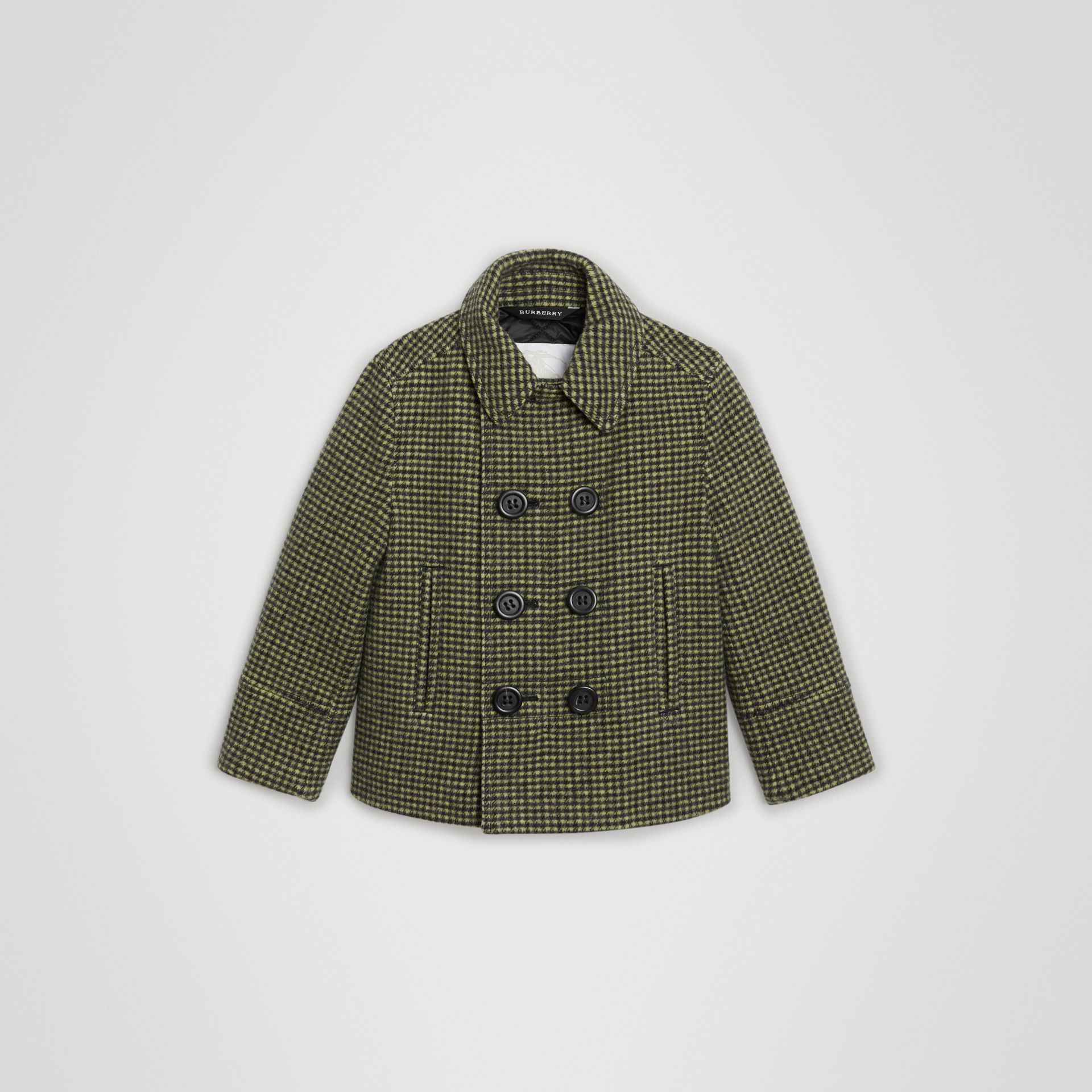 Check Wool Blend Tailored Coat in Grass Green | Burberry United Kingdom - gallery image 0