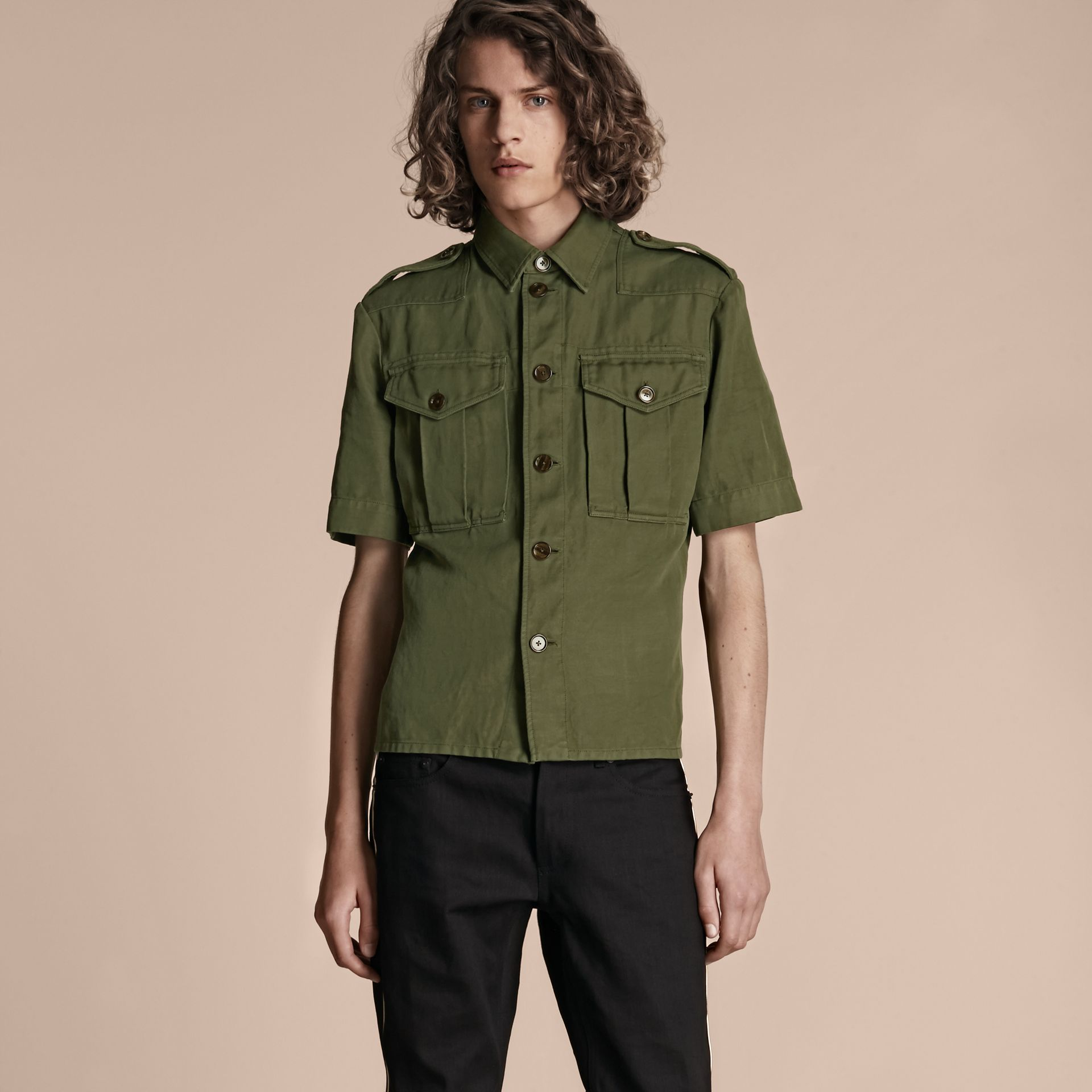 Military green Short-sleeved Ramie Cotton Military Shirt - gallery image 1